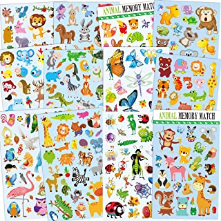 HORIECHALY 12 Sheets Cute Animal Stickers for kids, 295 different animals Including Insect, birds, Butterfly, Teacher, Parent, children Craft, Party Favors, Scrapbook Making, Reward Stickers,Gift Warp