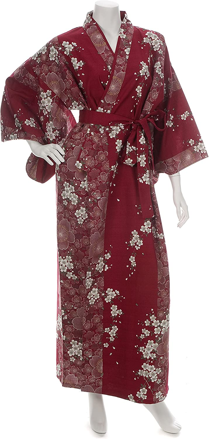 Cherry Blossom Print Long Red Yukata