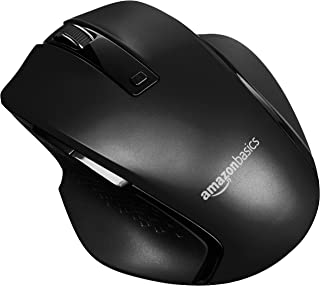 Amazon Basics - Mouse wireless ergonomico compatto con scrolling rapido - Nero