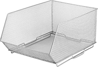 YBM HOME Ybmhome Mesh Stacking Bin Silver (Sold AS 1 BIN) Storage Containers Pantry Organizers Great for Food, Crafts, Cleaning or Pantry Items 1613s (1, Large 15x11x8 Inch)