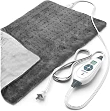 """Pure Enrichment® PureRelief™ XL (12""""x24"""") Electric Heating Pad for Back Pain and Cramps - 6 InstaHeat™ Settings, Machine-Washable, Ultra-Soft Microplush, Auto Shut-Off, and Moist Heat (Charcoal Gray)"""