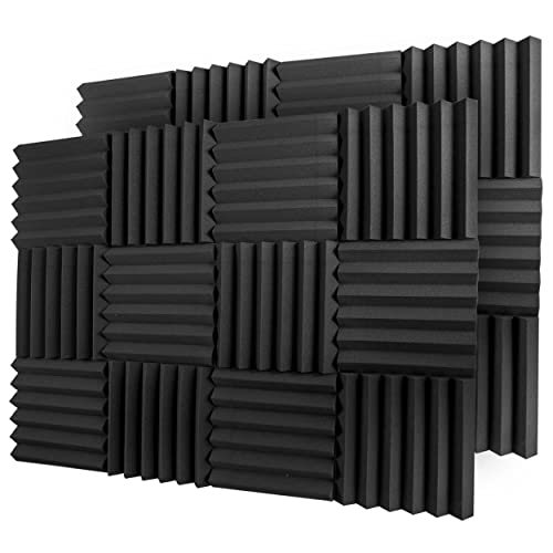 "A2S Protection 24 Pack Acoustic Foam Panels 2"" X 12"" X 12"" Soundproofing Studio Foam Wedge Tiles Fireproof - Top Quality - Ideal for Home & Studio Sound Insulation - Density 25Kg/CMB (Black 2"" 24pcs)"