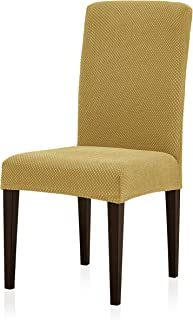 subrtex Jacquard Dining Room Chair Slipcovers Sets Stretch Furniture Protector Covers for Armchair Removable Washable Elastic Parsons Seat Case for Restaurant Hotel Ceremony (4, Beige)