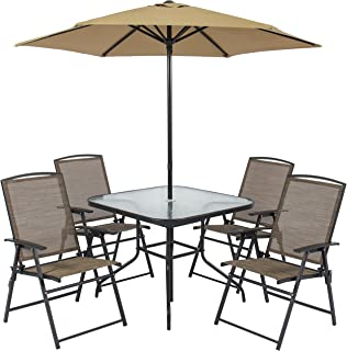 Best Choice Products 6pc Outdoor Folding Patio Dining Set W/Table, 4 Chairs, Umbrella and Built-in Base