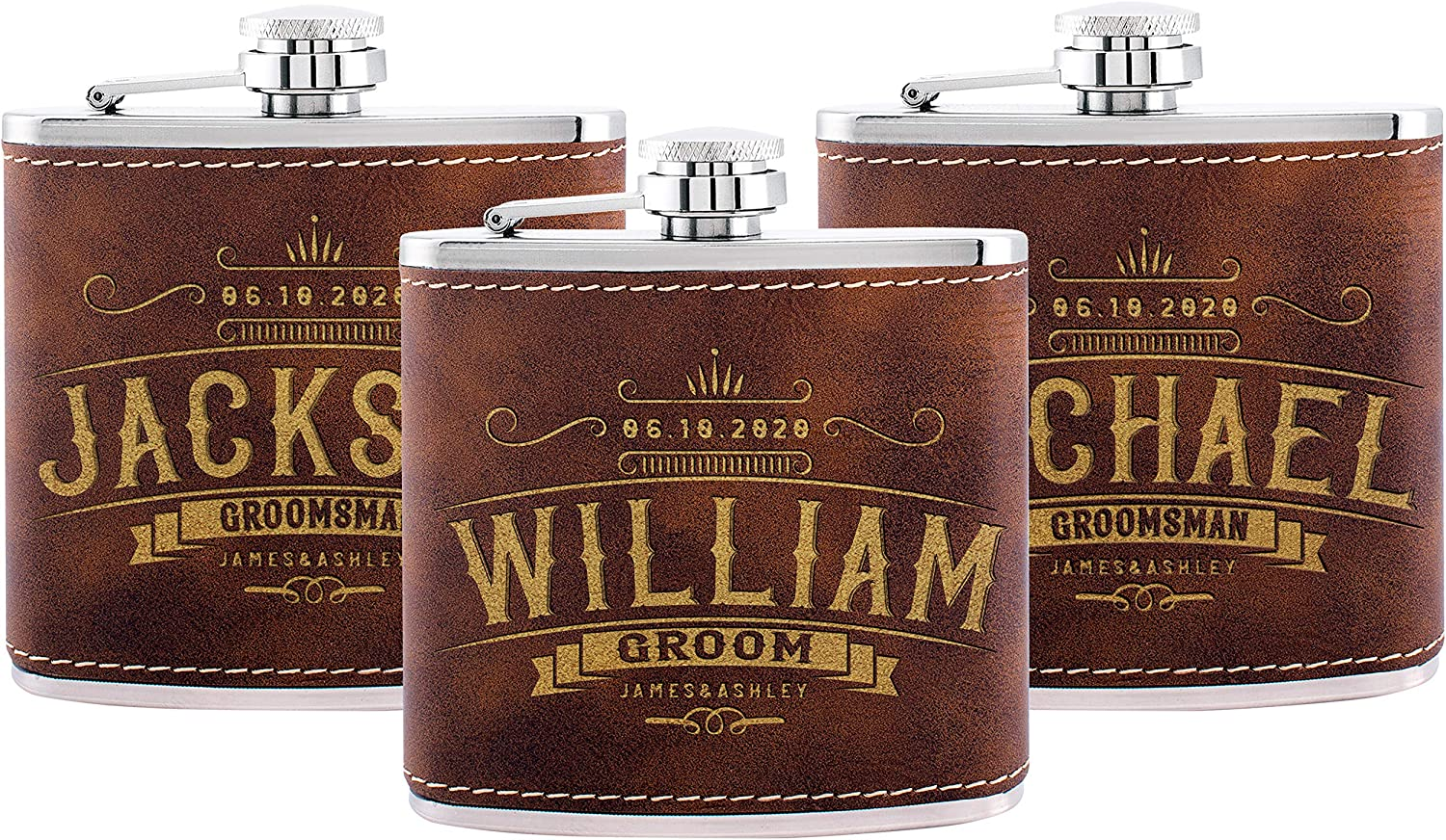 Set Save money of 3 Groomsmen Gifts Personalized F - Max 61% OFF for Wedding