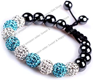 White Blue 2 Colors Pave Shine Crystal Beads Hand-Woven Bracelet Adjustable