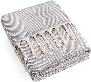 Dreamzie - Jete de Canape Réversible, 220x240 cm, Gris - Couvre lit, Couvertures et Plaids, Chevron, 100% Coton Certifié s...
