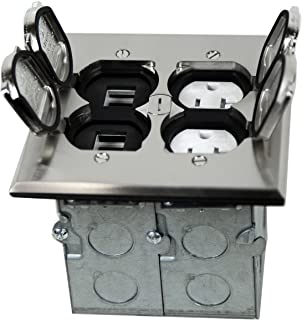 Enerlites 975549-S-D Nickel Plated Brass 2-Gang Floor Box Flip Open Assembly, 20A Tamper Weather Resistant Duplex Electrical Outlet, RJ45 Ready Data Ports,