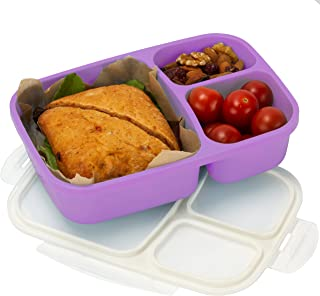 Leakproof, 3 Compartment, Bento Lunch Box, Airtight Food Storage Container (1 Pc) - Purple