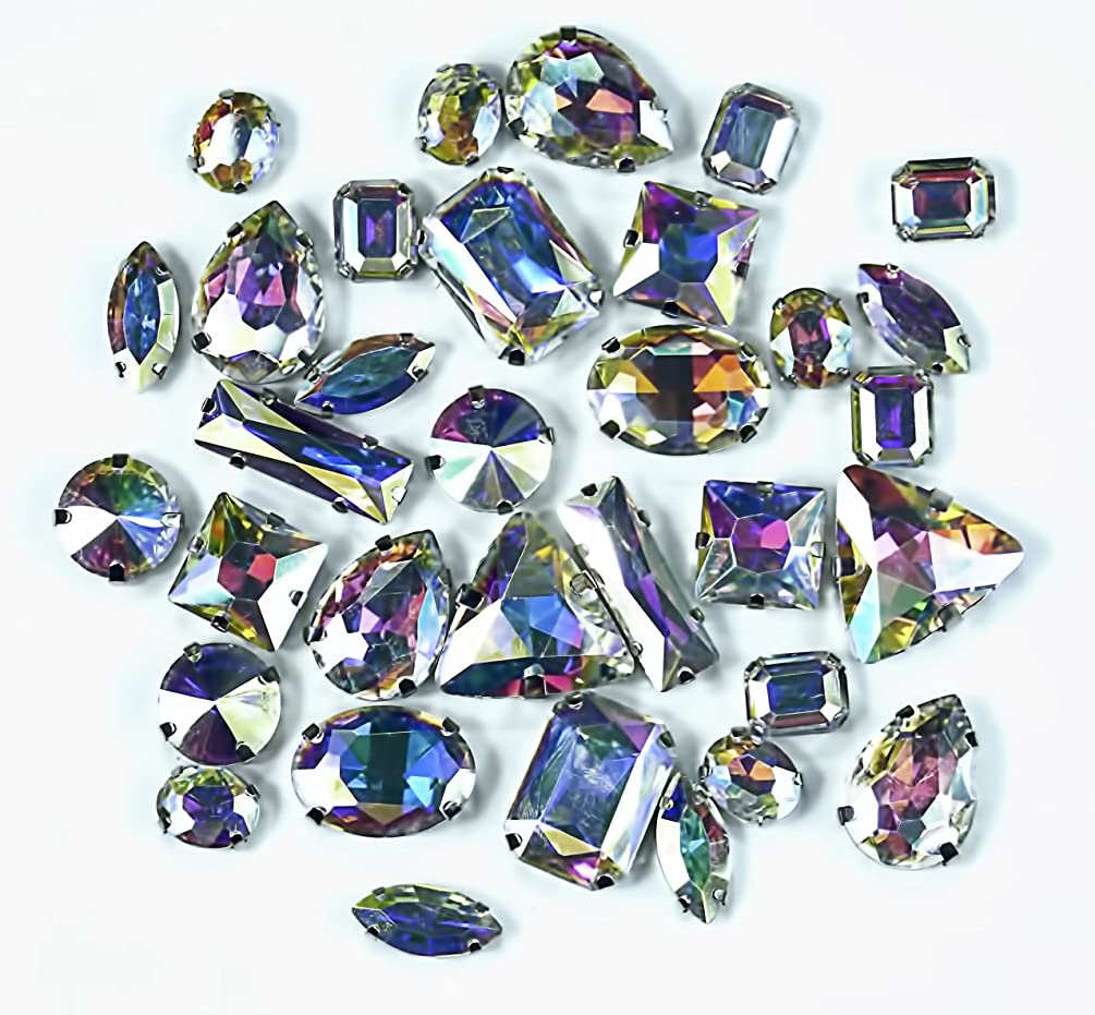 ALL in ONE Mixed Sew On Glass Crystal Diamante Rhinestone with 4 Holes for Craft DIY Cloth Deco AB Clear 8 Styles (Mixed 100pcs)