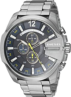 Diesel Men's Mega Chief Quartz Stainless Steel Silver with Blue Dial DZ4465