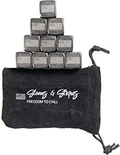 Whiskey Stones, Stones & Stripes American Flag Whiskey Stones, Set of 9 Gift Package