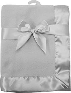 American Baby Company Fleece Blanket 30 X 40 with 2 Satin Trim, Grey, for Boys and Girls