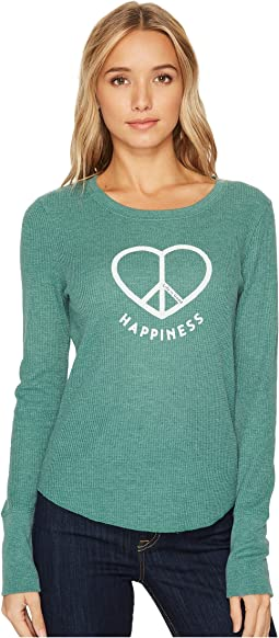 Life is Good - Peace Love Happiness Long Sleeve Waffle Tee