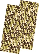 Camo Print Paper Straws - Desert Camouflage Army Party Supply - Tan Green - 50 Pack