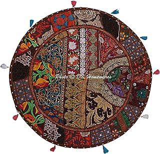 DK Homewares Ethnique Patchwork Marron 70 X 70 Cm Taie d'oreiller Ronde Méditation Ancien Décoration De Maison Taie d'orei...