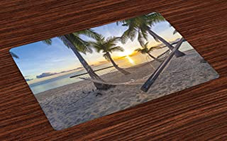 Ambesonne Tropical Place Mats Set of 4, Paradise Beach with Hammock and Coconut Palm Trees Horizon Coast Vacation Scenery, Washable Fabric Placemats for Dining Table, Standard Size, Sand Brown