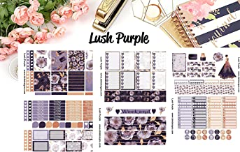 Lush Purple, Planner Calendar Sticker Kit 6 sheets on matte. Happy Planner and Erin Condren sizes. Kiss cut, just peel and stick.