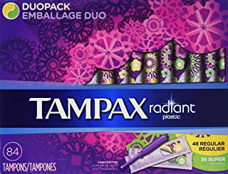 Tampax Radiant Plastic Tampons Duo Pack, Unscented, 84 Count