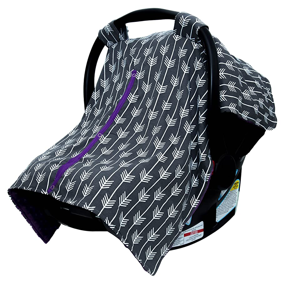 JLIKA Baby Car Seat Canopy Cover - Infant Canopy Cover for newborns infants babies girls boys best shower gift for carseats (Purple Gray Modern Arrows)