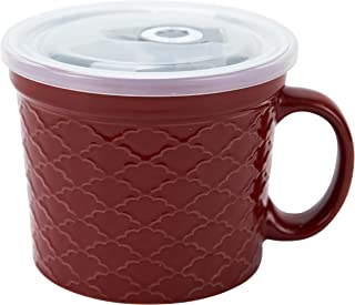 Boston Warehouse 24-Ounce Souper Bowl Red Embossed Stoneware Mug with Date Dial Vented Lid