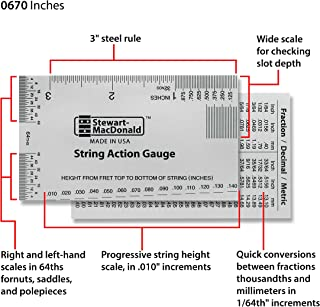 StewMac String Action Gauge And Ruler, Inches, Stainless Steel - Designed by StewMac, The Original measuring tool for acoustic and electric guitar, and bass setup