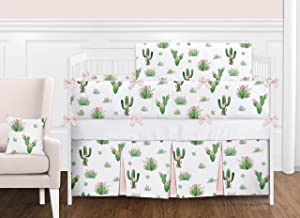 Pink and Green Boho Watercolor Cactus Floral Baby Girl Crib Bedding Set with Bumper by Sweet Jojo Designs - 9 pieces