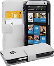 Cadorabo HTC One M7 (1. Gen.) Funda de Cuero Sintético Liso en Blanco Polar Cubierta Protectora Estilo Libro con Cierre Magnético, Tarjetero y Función de Suporte Etui Case Cover Carcasa