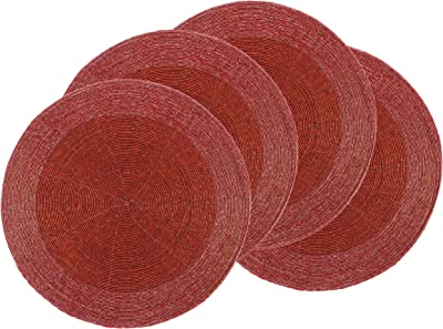 Elrene Green Round Sequins Set//2 Placemats Sparkle Motion Holiday Christmas NEW