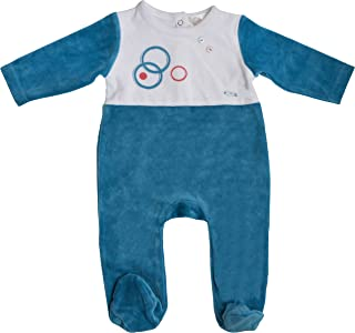 Jack & Jill Romper for Baby Boys, Blue Velour Footed Onesie, Baby Footie