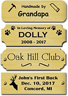 """1"""" H x 2.5"""" W, Custom Engraved Solid Satin Brass Name Plates, Satin Finish, Nameplate Memorial Tag Award Plaque, Made to Order, Made in USA (Satin Brass)"""