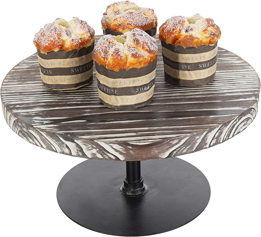 MyGift 12 Inch Torched Wood Black Metal Cake Stand
