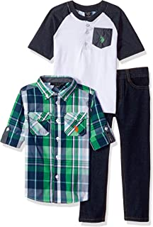 U.S. Polo Assn. Boys' Long Sleeve, T-Shirt and Pant Set