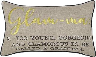 "ADecor Embroidered Lumbar Pillow Cover for Nana, Grandmother, Gigi (12""X20"", Glam-ma(Natural))"