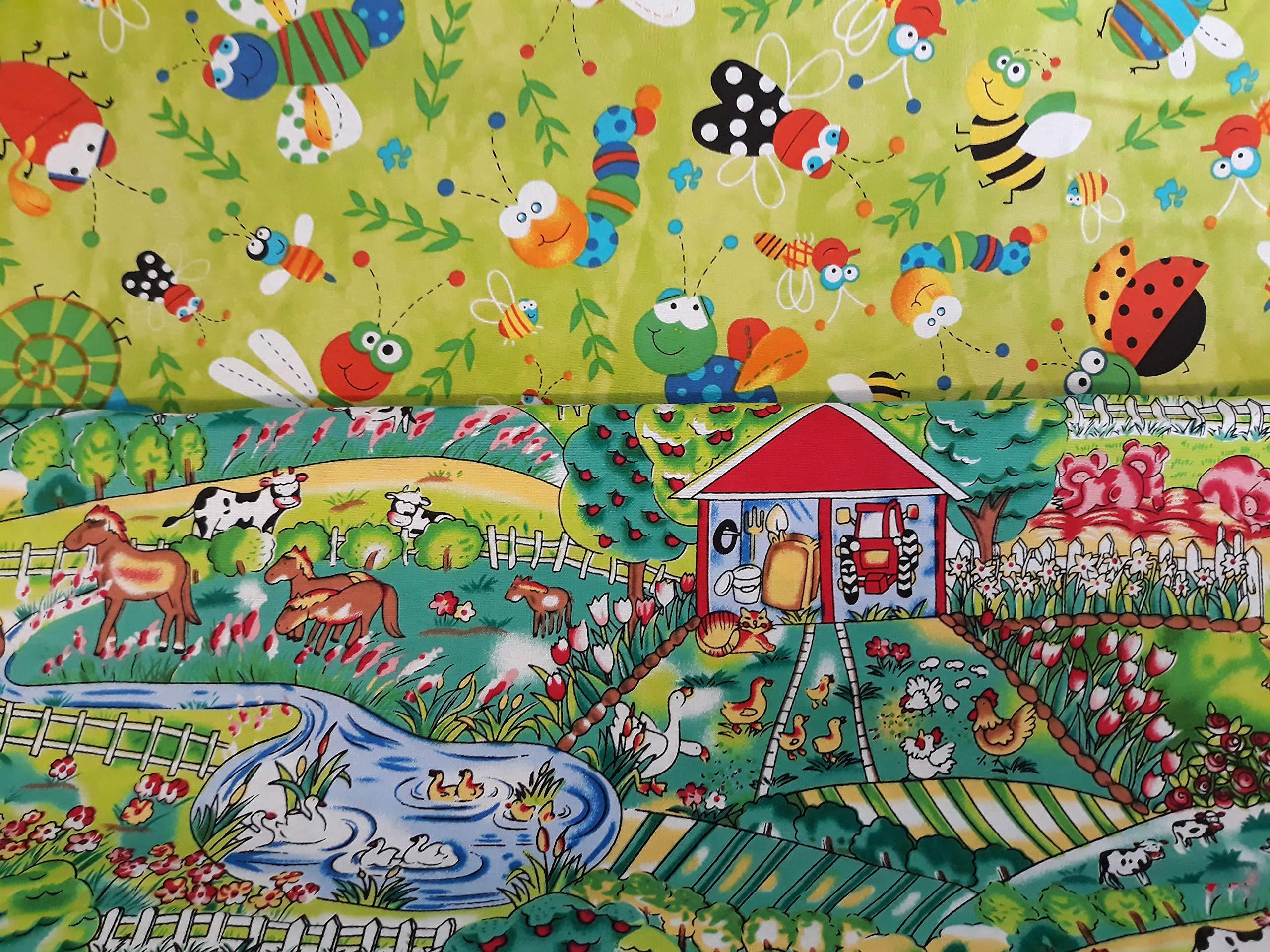 1 METRE, FARMYARD CRAZYLADIES TEXTILES Children Kids Nursery-Bedroom-Curtains-Bedding NURSERY FABRICS Farmyard or Happy Bugs in Metres