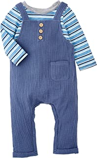 Mud Pie baby-boys Blue Overall Stripe Shirt Set
