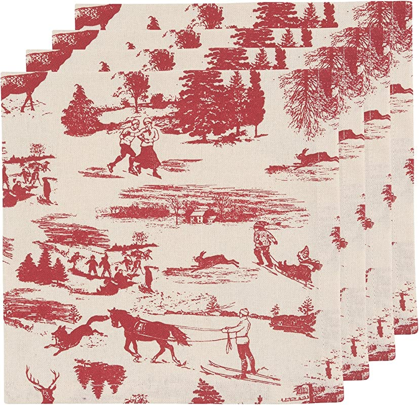 Now Designs Napkins Set Of Four Holiday Toile Print
