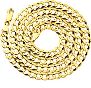 "LoveBling 14K Yellow Gold 7mm Plain Solid Curb Cuban Necklace W/Lobster Lock (18"" to 30"")"