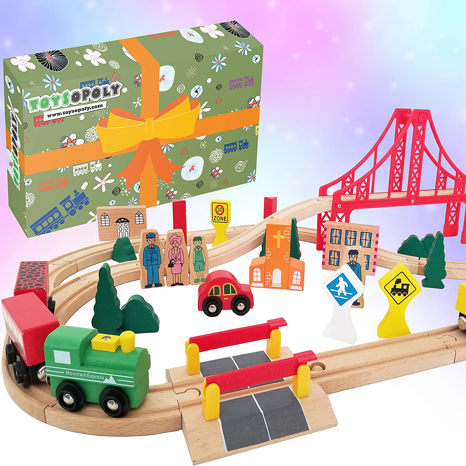 Sale SALE% OFF Wooden Train Tracks Full Set Deluxe 55 F 3 Max 40% OFF Destination Pcs with