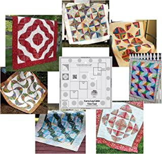 Bundle of Creative Grids Curvy Log Cabin Trim Tool 8in Finished Blocks and Seven (7) Cut Loose Press Curvy Log Cabin Quilt Patterns