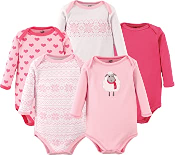 5- Pack Hudson Baby Unisex Long Sleeve Cotton Bodysuits (18-24 month)