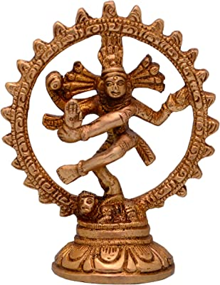 Purpledip Nataraja (Lord Shiva Mahadev In Dance Pose) Brass Statue For Home Temple Mandir Showpiece (10697)