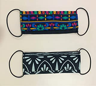 Cotton Face Mask Pack of 2 Printed Cloth Face Mask Washable Reusable FaceMasks for Man and Woman   Soft Earloop/Mouth Nose Cover Men Women Unisex  Cotton Breathable Mask