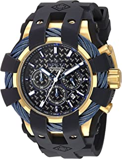 Men's Bolt Stainless Steel Quartz Watch with Silicone Strap, Black, 26 (Model: 23862)