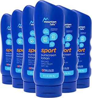 Mountain Falls Sport Sunscreen Lotion, SPF 50 Broad Spectrum UVA/UVB Protection, 8 Fluid Ounce (Pack of 6)