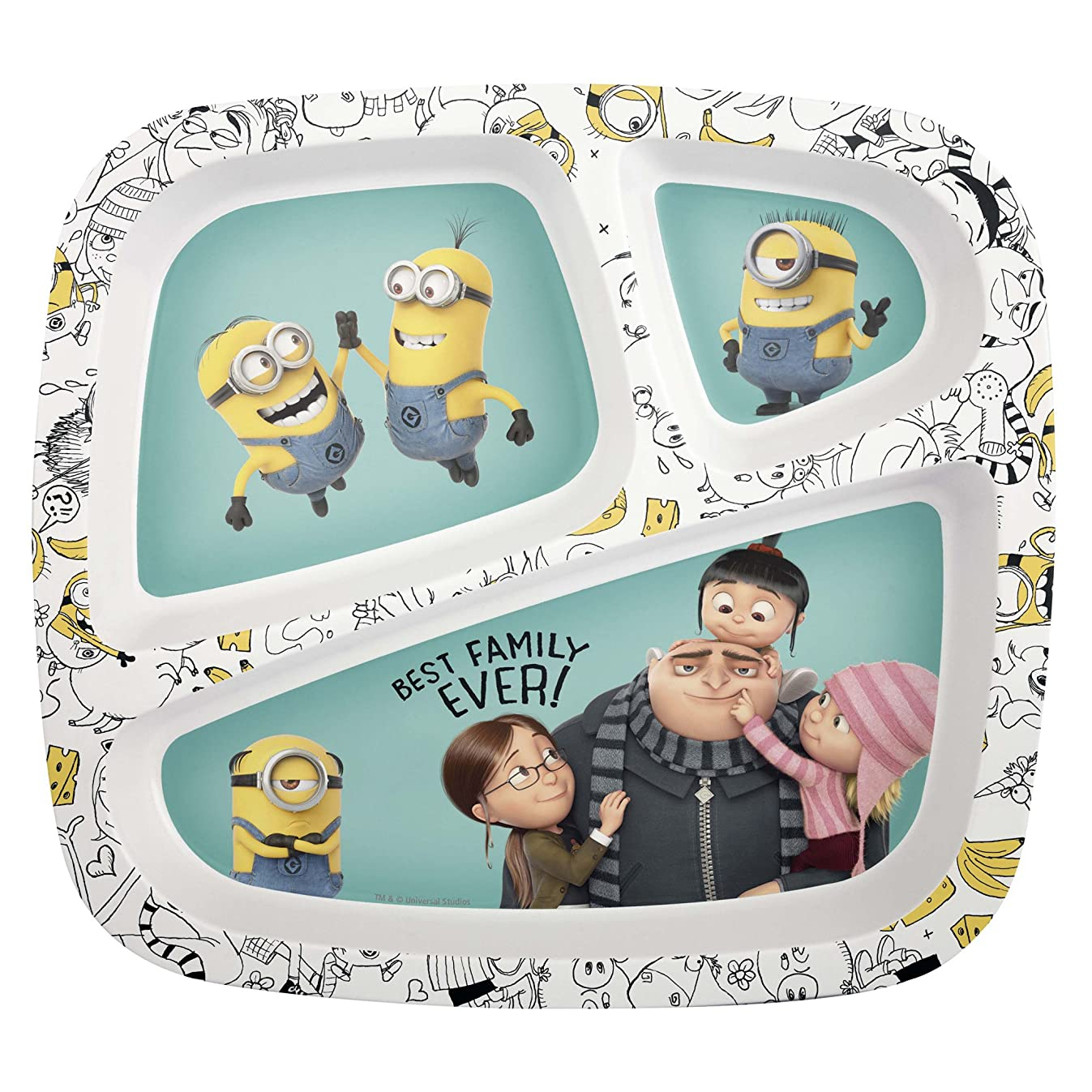 Zak! Designs 3-Section Plate featuring Despicable Me 3 Minions Graphics, Break-resistant and BPA-free plastic