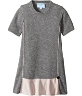 Short Sleeve Knit Dress with Contrast Ruffles On Front (Toddler/Little Kids)