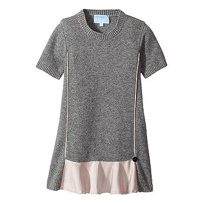 Lanvin Kids Short Sleeve Knit Dress with Contrast Ruffles On Front (Toddler/Little Kids) (Grey/Pink) Girl