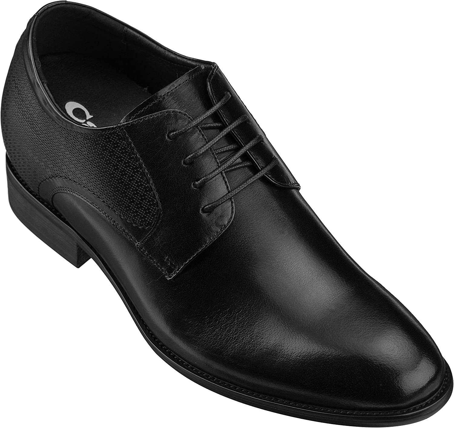 CALTO Men's Invisible Height Increasing Elevator shoes - Black Premium Leather Lace-up Formal Oxfords - 2.8 Inches Taller - Y1001
