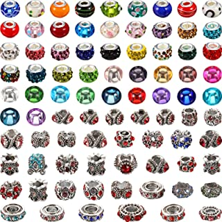 84 Pieces Assorted European Craft Beads Large Hole Glass Spacer Beads Crystal Colorful Antique Silver Beads Rhinestone Eur...